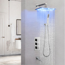 3 Colors LED Bath Shower Faucet Set Thermostatic Bath Shower 3 Ways Mixing Valve Mixer Tap Full Brass Shower System Bathroom 1 dn25 solar energy shower mixer thermostatic valve automatic mixing brass valve