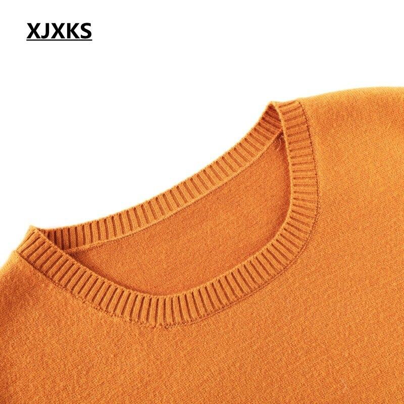 Unici Pullover Arancione Navy Casual Elasticità blu orange Abbigliamento Lungo Delle Modelli Di rosso Xjxks Donne Caldo Stile Maglione Coreano Red Alta Madre wpvqav