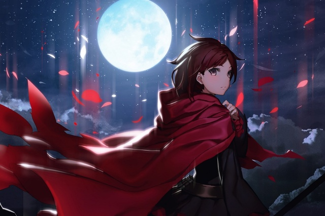 Ruby Rose Rwby Beautiful Cool Anime Girl Under Moon Night