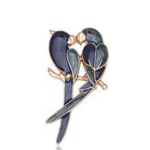 Exquisite Top grade double bird brooches pins mujer delicate jewelry rhinestone broach female lapel pins decorate  X1592