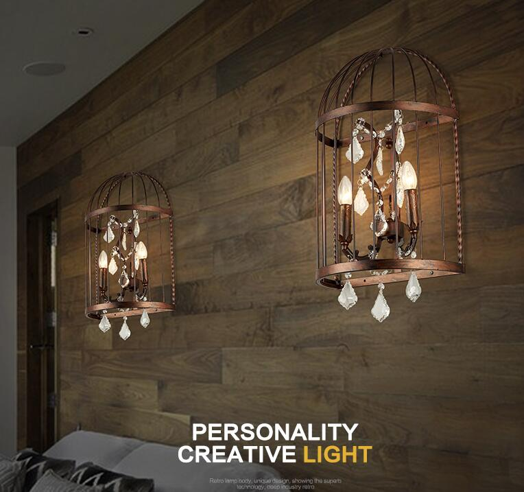 American Village Countryside LOFT Industrial Bedroom Bedside Wall Lamp Creative Personality Iron Cage Crystal Wall Light
