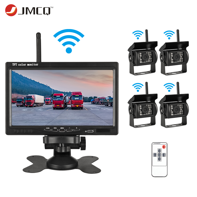 JMCQ 7 TFT LCD Wireless Car Monitor HD Display Reverse Camera Remote control Parking System For