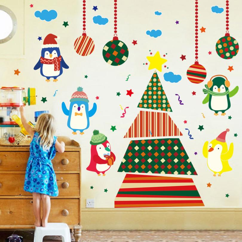 Christmas Tree Penguins Wall Stickers Window Glass Door Decoration Wall  Sticker Christmas Penguin Christmas Tree Wallpaper In Wall Stickers From  Home ...