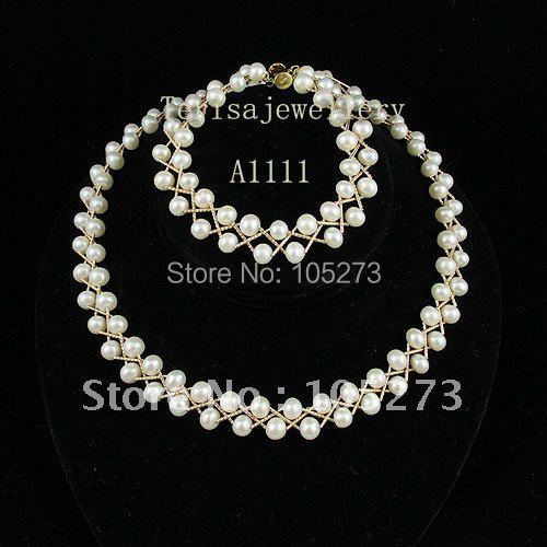 wholesale A1111#Hot Sale pearl Gold tube necklace bracelet fashion jewellery necklace bracelet free shipping women's jewellery