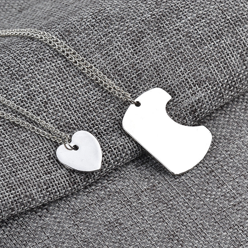 1pair Fathers Day Mothers Day Love Heart Pendant Necklace Family Members Festival Decoration Collar Long Chain Combine Jewelry
