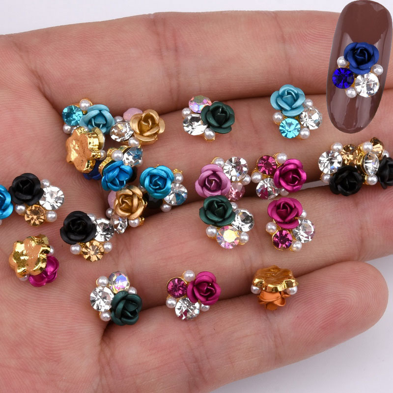 Image 3 - 10psc  New Design 3D Nail Art Alloy Decorations rose flowers Crystal rhinestones Nail Charms Supplies LH322 330-in Rhinestones & Decorations from Beauty & Health