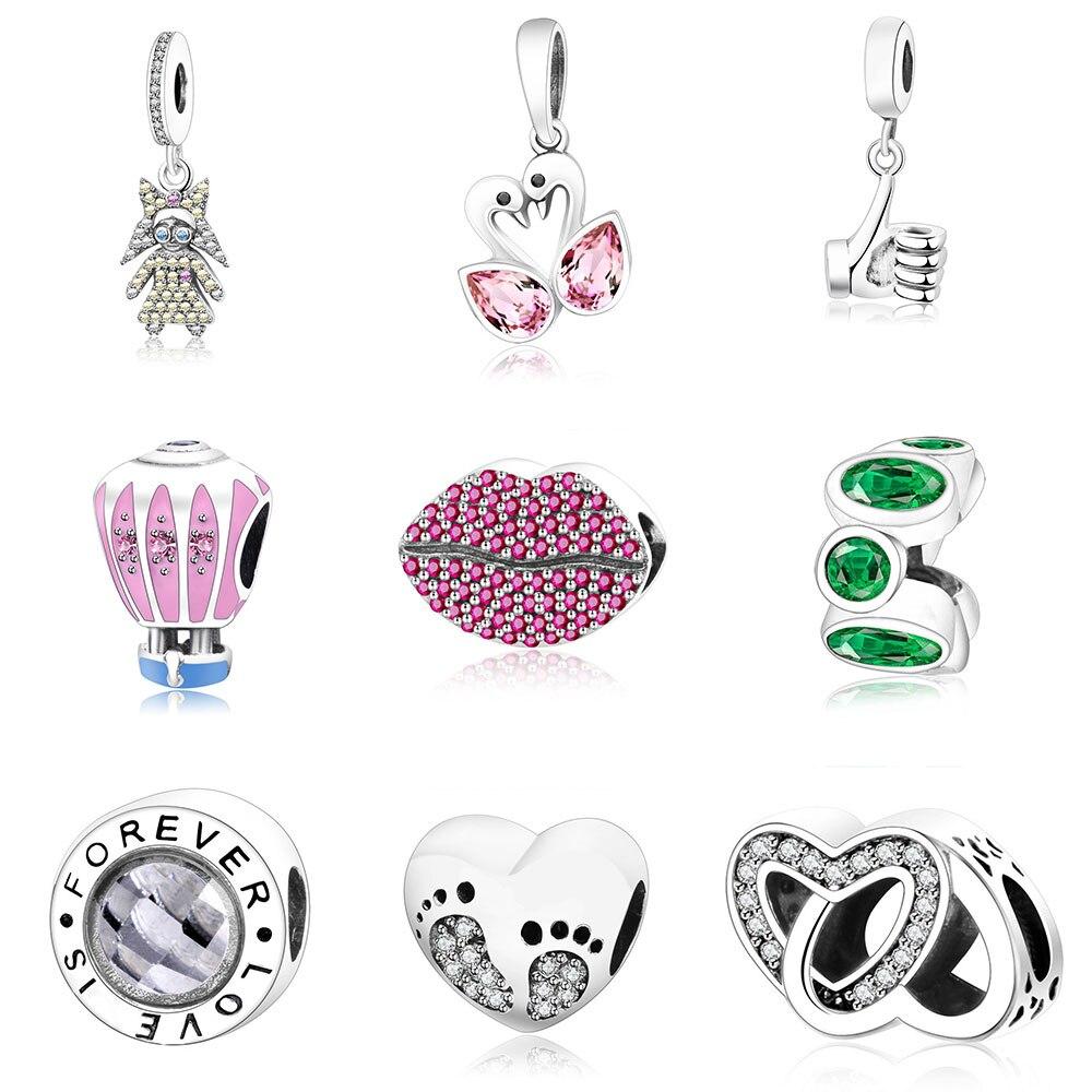 Fit Pandora Original Charm Bracelet 925 Prata Bonito Encantos Talão Jóias  de Boa Qualidade Para As Mulheres Presente DIY Berloque dd9b8ae613