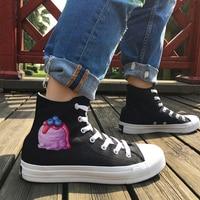 Wen Original Design Delicious Ice Cream Blueberry Strawberry High Top Canvas Sneakers Women Black White Men Skateboard Shoes