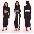Elegant O Neck Long Sleeve Tops With Long Skirts Black With White Patch Work Women Simple Dress