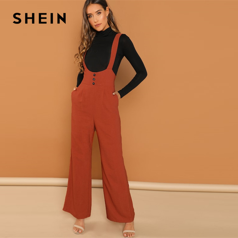 Shein Rust Casual Solid Buttoned Trim High Waist Wide Leg Maxi Straps Sleeveless Jumpsuit Autumn Fashion Campus Women Jumpsuits Aromatic Character And Agreeable Taste