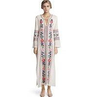 Gypsy Style Botanic Ricamo Floreale Abiti Donna Scollo A V In Pizzo fino A Manica Lunga Basso Hem Cotton Dress Casa Maxi Hippie vestito