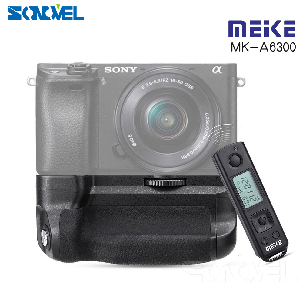 Meike MK-A6300 pro Battery Grip Holder Built-in 2.4G Wireless Remote Control Suit for Sony A6300 A6000 meike mk a6300 pro remote control battery grip 2 4g wireless remote control for sony a6300 ilce a6300 np fw50