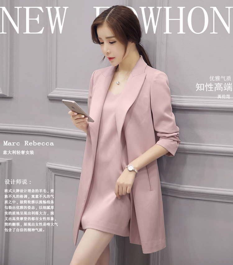 J40144 New Design 2 Sets Blazer Womens Long Windbeaker Ladies Jacket Elegant Luxury Blazers Solid Collar