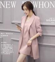 J40144 New Design 2 Sets Blazer Womens Long Windbeaker Ladies Jacket Elegant Luxury Blazers Solid Collar Jacket Gogerous Coat