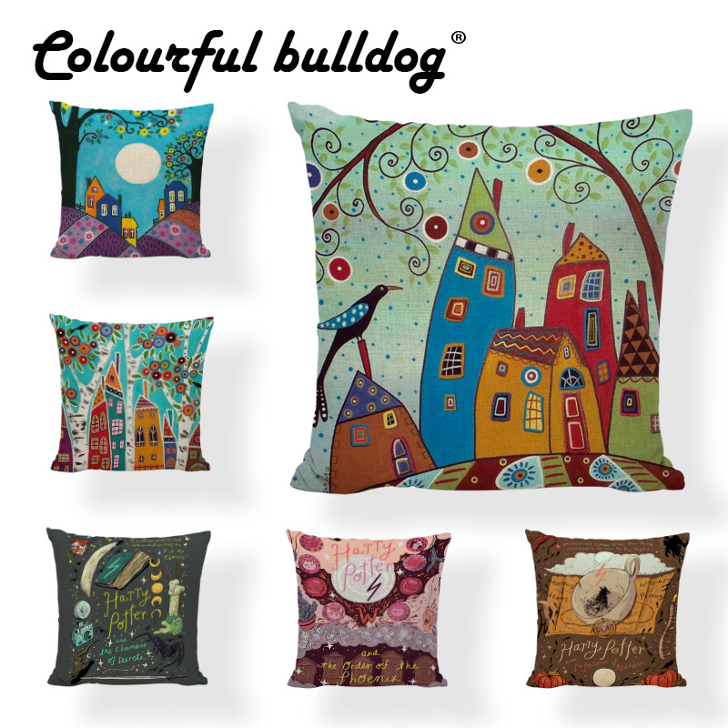Cute Children Abstract Graffiti Bird Tree Sun Cushion Cover Harry Potter Magic Pillowcase House Car Farmhouse Rcok Chair Decor