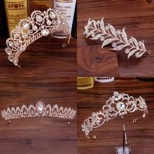 Tiaras y diademas de hojas de oro rosa para mujer, accesorios para el cabello de cristal, diadema de Reina nupcial, adornos de boda, joyería