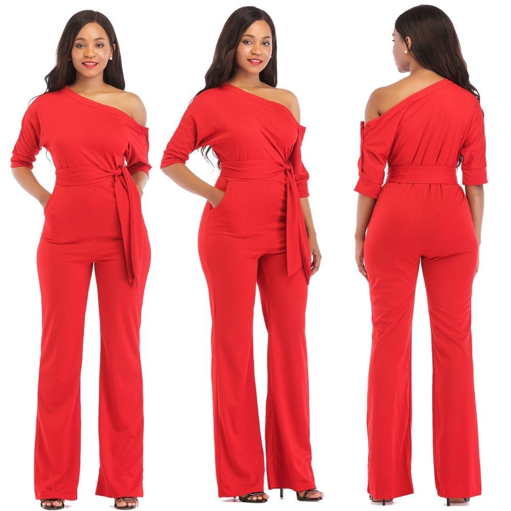 Autumn Classic Sloping Shoulder Jumpsuit Women Casual Solid Half Sleeve Wide Leg Pants Elegant Office Lady Female Body Jumpsuit
