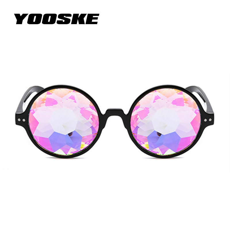 YOOSKE Runde Kaleidoskop Gläser Frauen Retro rave festival Bunte Party holographische Sonnenbrille Laufsteg-show Holograp Gläser