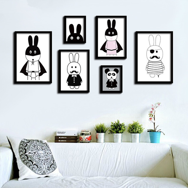Nordic black white cartoon animals rabbit canvas printing a4 art oil print poster kids bedroom wall