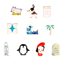 Blue waves brooch pink pig penguin Enamel Pin rabbit Cartoon Metal Brooch for Coat  Bag Badge Sea Jewelry Gift Kids gift