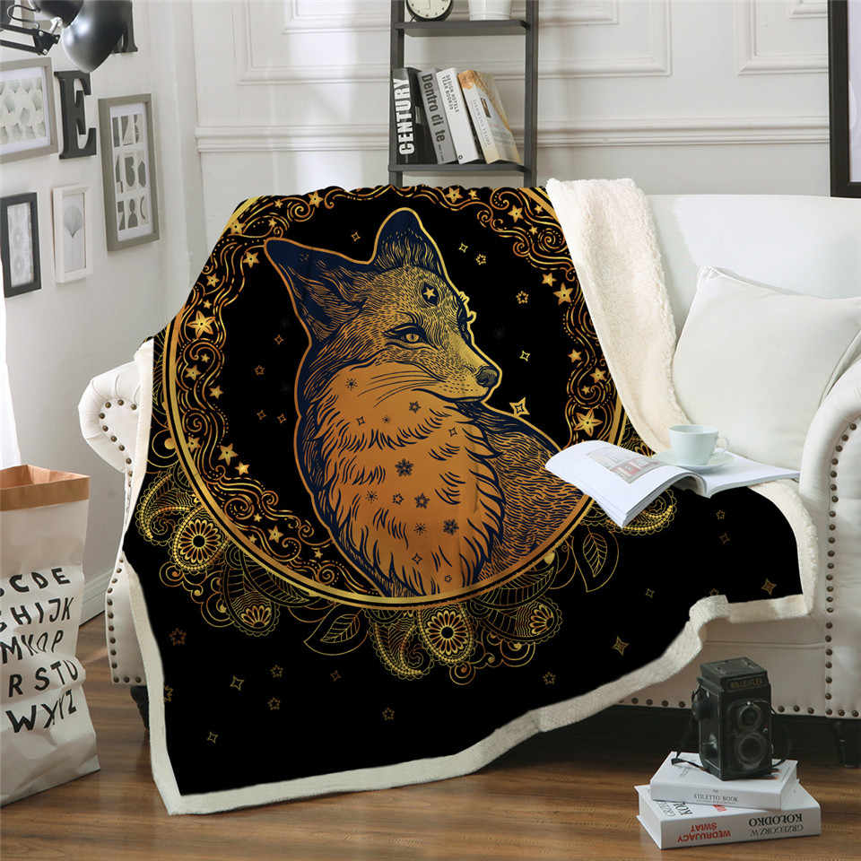 Golden Fox Sherpa Throw Blanket Animal Stars Bedspread Paisley Leaves Flower Velvet Plush Bed Blanket