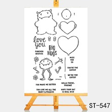 AZSG Cute little monster Clear Stamps/Silicone Transparent Seals for DIY scrapbooking Card Making 10*15cm