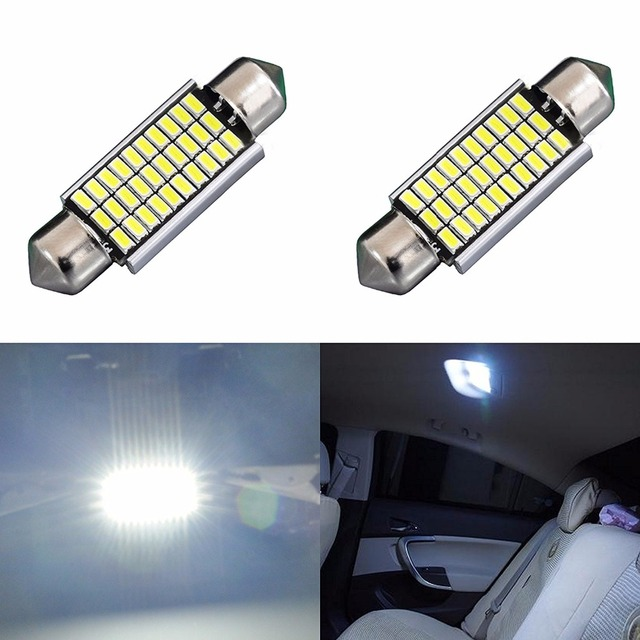 AGLINT 2PCS Automotive Led Festoon Bulb Error Free Canbus Interior Light  Pure White 12 Volt 39mm C5W Festoon Dome Light White
