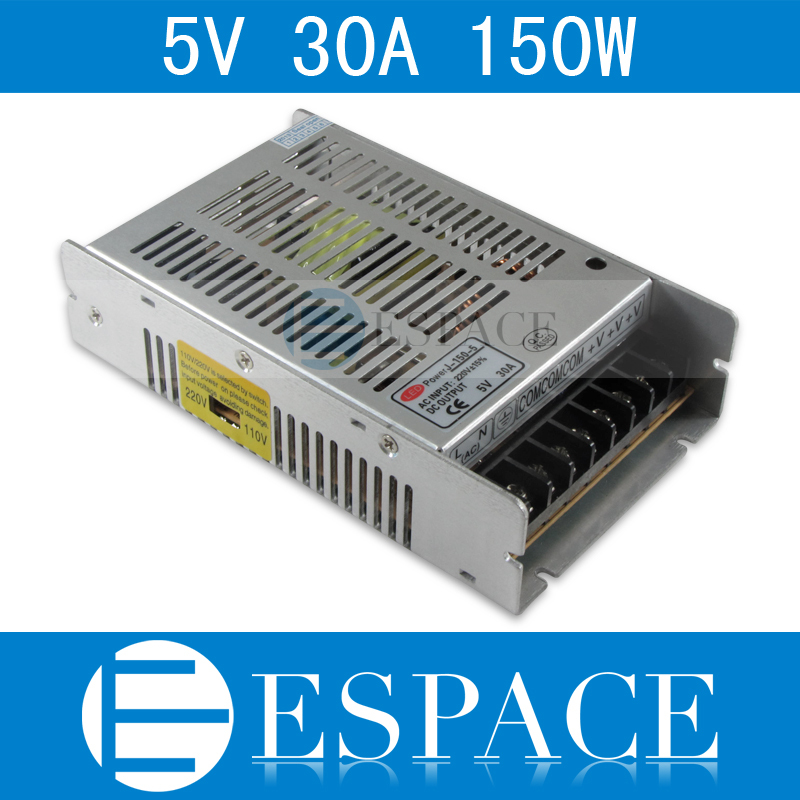 Best quality 5V 30A 150W Switching Power Supply Driver for LED Strip AC 100-240V Input to DC 5V free shipping best quality 5v 2a 10w switching power supply driver for led strip ac 100 240v input to dc 5v free shipping