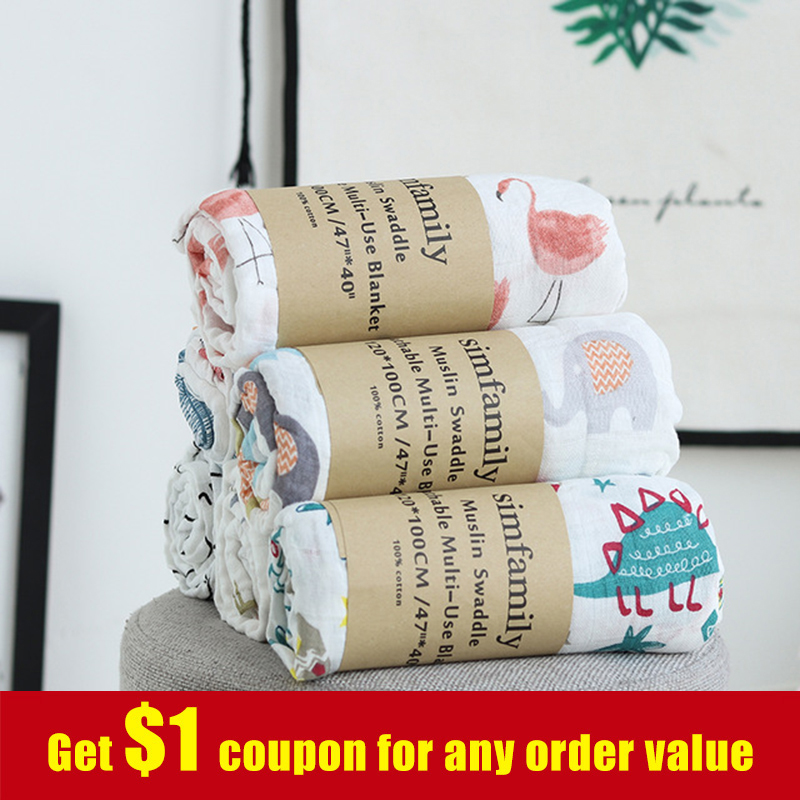 [simfamily] 1Pc Muslin 100% Cotton Baby Blankets Soft Newborn Swaddles Bath Gauze Infant Wrap Sleepsack Stroller Cover Play Mat