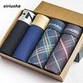 Underwear siriusha instalado 4 de los hombres pantalones masculinos de seda caja de regalo de cuatro ángulo pantalones transpirable pantalones de sentido