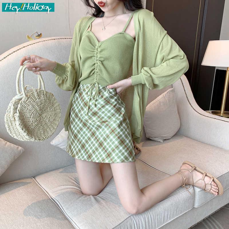 Летний женский комплект из 3 предметов, майка, жилет, зеленый + шорты, юбка + Солнцезащитная рубашка 2019