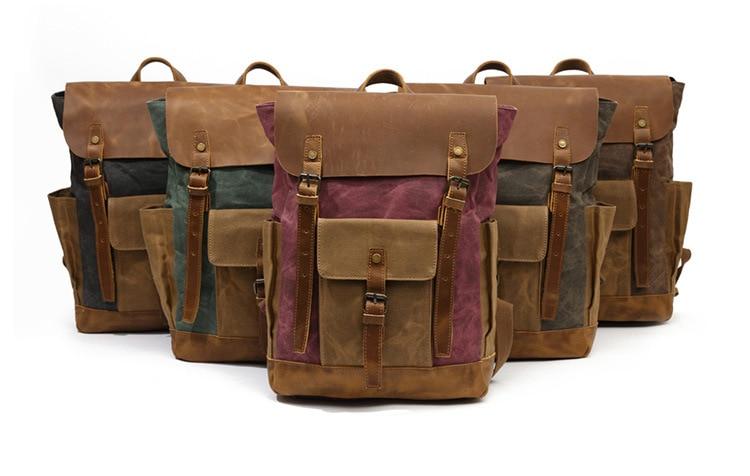 Retro Contrast Oil Wax Waterproof Canvas Bag Travel Backpack Computer Schoolbag Large Capacity Women Backpack 26