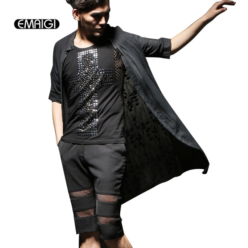 Men Summer Long Style Casual Shirt Mens Lace Splice Shirts Male Fashion Punk Party Slim Half Sleeve Shirts Cardigan