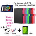 For Lenovo Litchi skin Leather stand case cover capa para for Lenovo tab 3 7.0 710 essential tab3 710F Tablet PC+pen+Film+OTG
