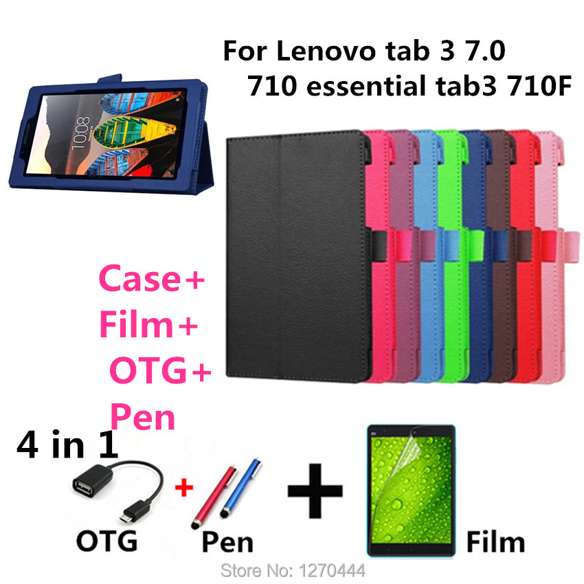 For Lenovo tab 3 7.0 710 Litchi skin Leather stand cases cover capa para for Lenovo tab 3 7.0 710 essential tab3 710F Tablets