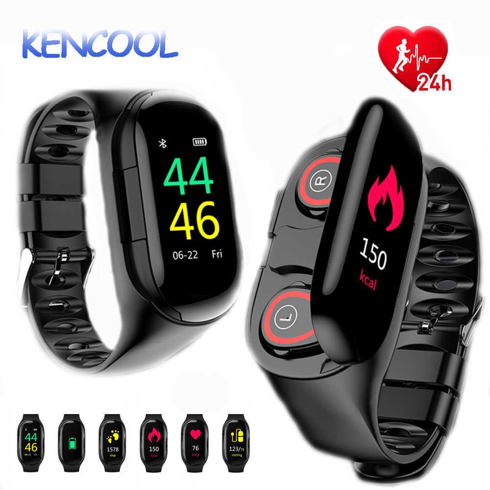 Kencool Terbaru Ai Smart Watch dengan Earphone Bluetooth Monitor Detak Jantung Smart Gelang Lama Waktu Siaga Olahraga Pria Wanita