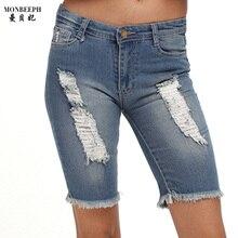 2017 новый бренд джинсовой Колен жан 1/2 Брюки рваные джинсы для женщин Отверстие кисточка сращены Заусенцев джинсы женщина Короткие тощий капри