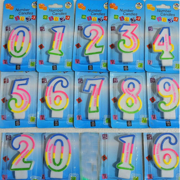 10pcs Kids Baby Shower Adult Colorful Birthday Candle Number 0 9 Cake Decoration Home Party Use Candles