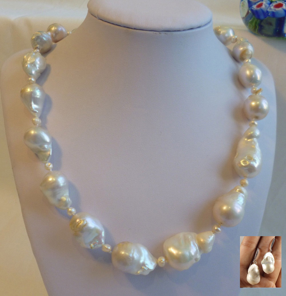 Silver Genuine 14-16mm 4mm Baroque freshwater pearls necklace earring shipping free Silver Genuine 14-16mm 4mm Baroque freshwater pearls necklace earring shipping free