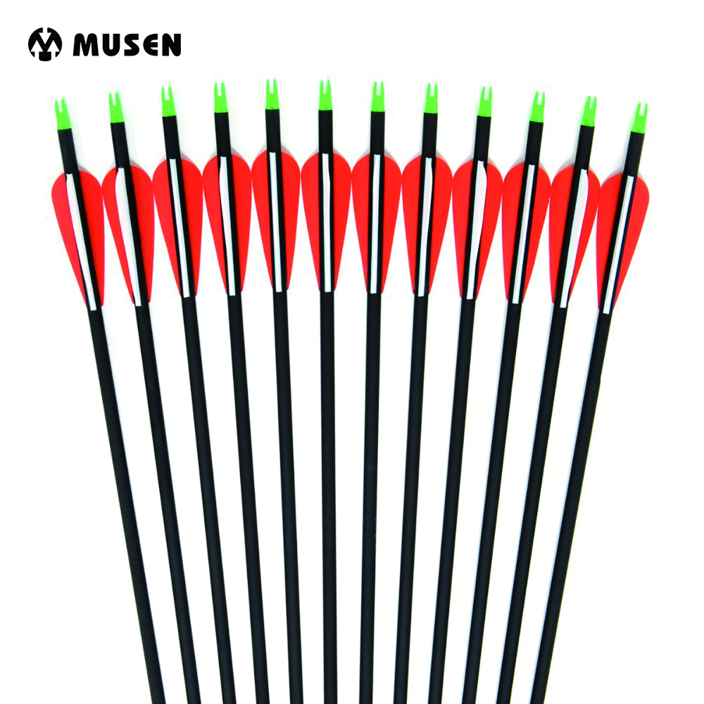 6/12/24pcs Carbon Arrow 28/30 Inches Length Spine 500 With Replaceable Arrowhead For Compound/Recurve Bow Archery Hunting