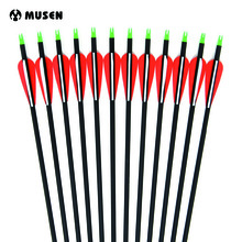 6/12 / 24pcs Carbon Arrow 28/30/32 Pollici Lunghezza Spine 500 con punta intercambiabile sostituibile per arco compound / arco ricurvo Caccia