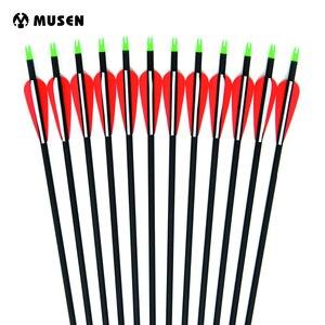 Image 2 - Flèche en carbone 28/30/32 pouces de longueur colonne vertébrale 500 avec pointe de flèche remplaçable pour la chasse à larc composé/classique