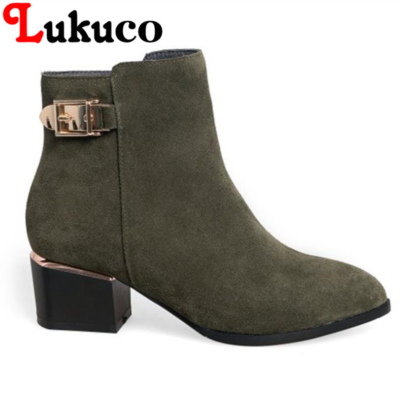 2017 EUR size 37 38 39 Lukuco women boots pure color pointed toe zipper design high quality genuine leather shoes free shipping