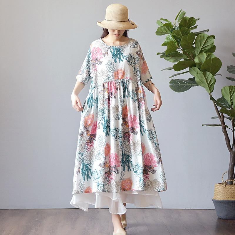 Johnature Women Cotton Linen Floral Dresses 2019 Summer New O Neck Half Sleeve Loose Patchwork High