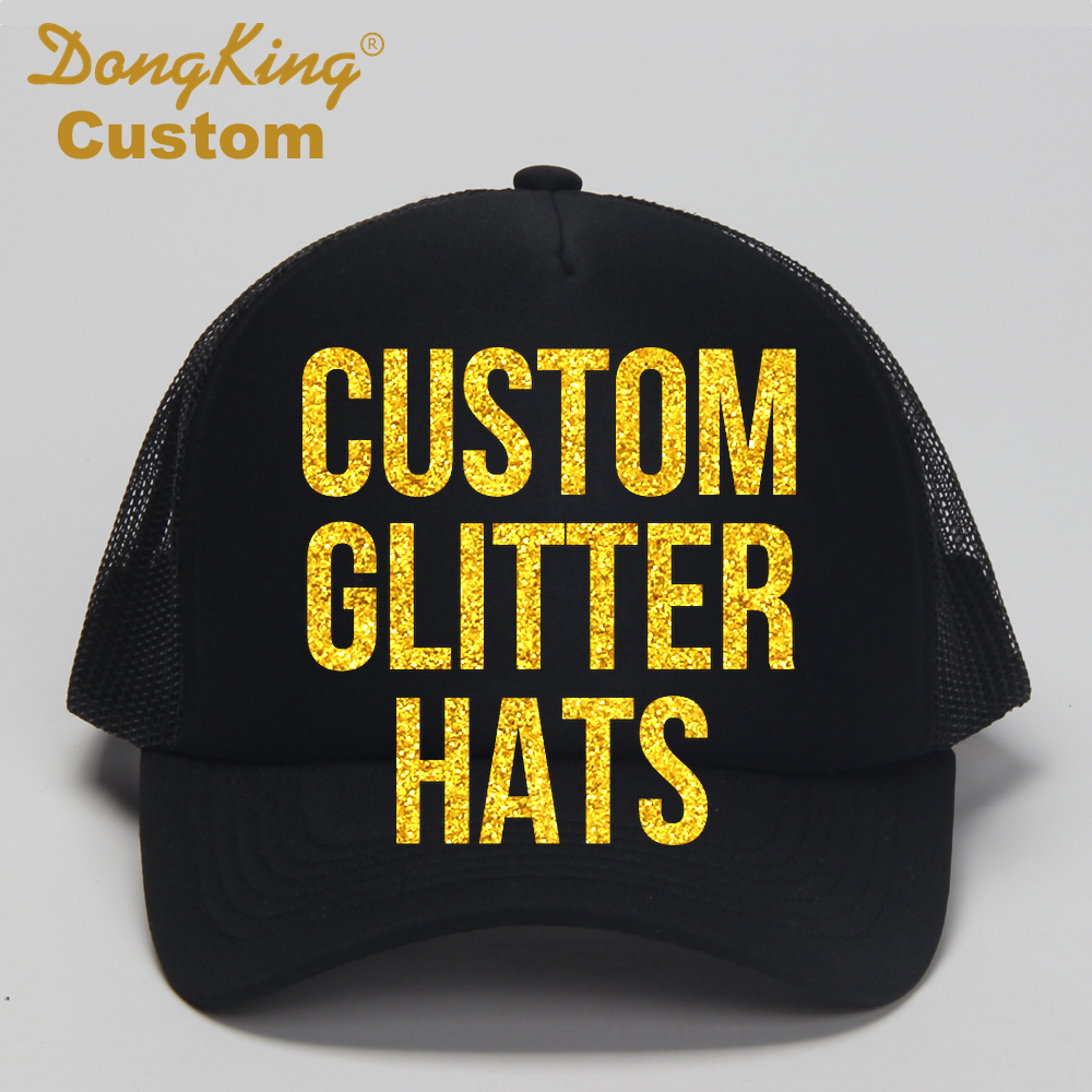 DongKing Custom Trucker Hat Cap With Your Saying in Glitter Print Text LOGO  Glitter Print 5 Colors Glitters Mom Dad Kids Gift-in Baseball Caps from  Apparel ... 8ff0cd4ff43b