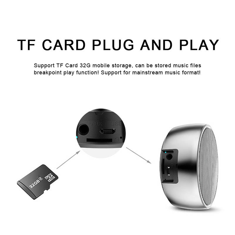 Image 5 - Metal Bluetooth Speaker Outdoor Round Sport Super Bass Music Player MP3 Box with Hands Free Call Support TF Card Mini Speaker-in Portable Speakers from Consumer Electronics