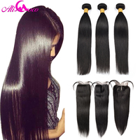 Ali Coco Straight Hair Bundles With Closure Brazilian Hair Weave Bundles With Closure Human Hair Bundles