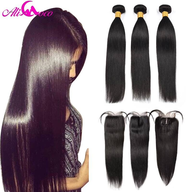 Ali Coco Straight Hair Bundles With Closure Brazilian Hair Weave Bundles With Closure Human Hair Bundles With Closure Non remy