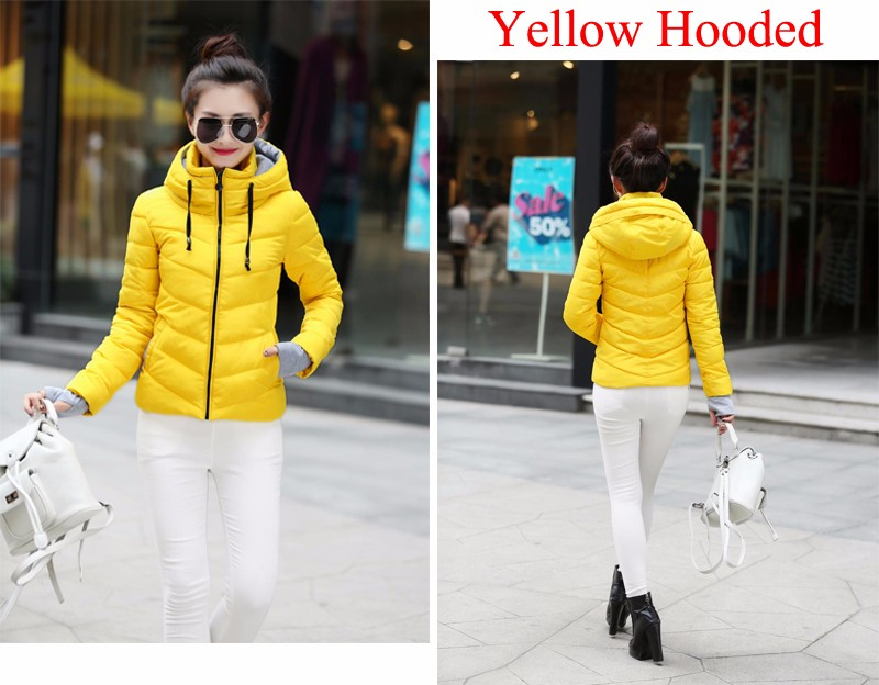 Winter Jacket Women Parkas Thicken Outerwear solid hooded Coats Short 47