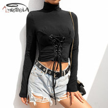 Imily Bela Sexy Bandage Crop Top Black Long Sleeve Turtleneck Bodycon Short T Shirt Women Autumn Gothic Punk Club Sweatshirt недорого